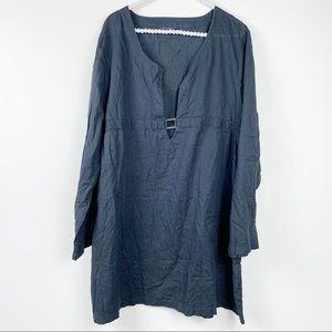 Lands end dress XL black plunge 100% Baumwolle